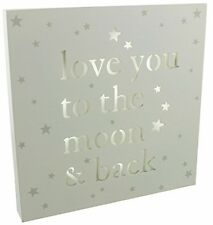 Baby Light Up MDF Wall Plaque Sign Nightlight Lamp Love You To The Moon and Back
