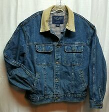 Mens Vintage 90s Old Navy Jean Jacket Large Corduroy Collar DENIM Plaid StainA69