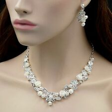 Rose Pearl Crystal Necklace Earrings Bridal Wedding Jewelry Set 00129 Silver