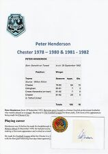 PETER HENDERSON CHESTER CITY 1978-1980 & 1981-1982 ORIGINAL HAND SIGNED CUTTING