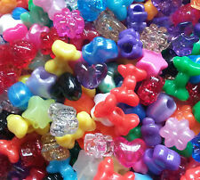 100 Stars Hearts Bows Flowers Pony Beads Loom Bands Hair Braiding Dummy Clips