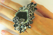 """LADIES GREY CHUNKY STONE RING GOTHIC NEW UNIQUE """" HALLOWEEN SPECIAL """"(CL10)"""