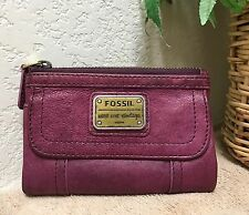 Fossil Long Live Vintage Burgundy Leather Organizer Clutch Wallet VGC