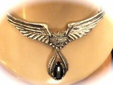 STERLING  VINTAGE STAMPER CO. HARLEY DAVIDSON CYCLES WINGED BLACK ONYX NECKLACE