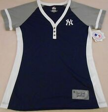 WOMENS SIZE LARGE MLB NEW YORK YANKEES MAJESTIC HENLEY V-NECK TOP NWT