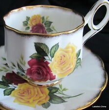 Rosina English Bone China Tea Cup and Saucer Set Brushed Gold French Loop Handle