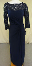 R&M Richards Women's Lace/Sequin Twist Knot Bodice Gown Navy Size 12 NWT
