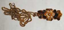 VINTAGE ANTIQUE TIGER EYE GEMSTONE CHIP FAUX PEARL FLOWER GOLD NECKLACE PENDANT
