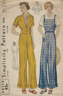 1930s Vintage Sewing Pattern B34 OVERALLS TROUSERS & JACKET (1259)