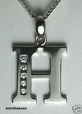 "Initial ""H"" 14K White Gold Pendant 7/8"" BIG 1.6g GORGES"
