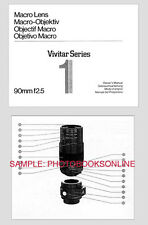 Vivitar Series 1 90mm F2.5 Macro  Lens Instruction Manual: Classic First Model