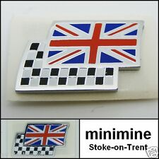 Classic Mini Union Jack Flag Chequered Badge MG Car Genuine Rover British BMC