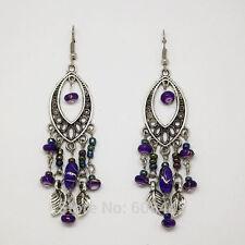 Plata Tibetana Bohemia Vintage Estilo púrpura de perlas Hojas Borla Aros Colgantes