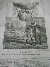 Litho 1867 - Le Ballon Captif ma femme y est cent francs pour couper la corde !