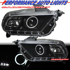 2010-2012 FORD MUSTANG CCFL HALO PROJECTOR HEADLIGHTS BLACK HALOGEN TYPE PAIR
