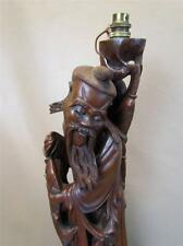 ANTIQUE CHINESE CARVED HARDWOOD FIGURAL LAMP OF FATHER & SON with FISH