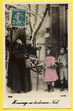 cpa de 1910 HOMMAGE au BONHOMME NOËL Enfants Gui Neige Cadeaux Hotte SANTA CLAUS