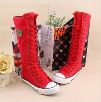 Gothic Women Knight's Shoes Sneaker Zip Lace Up Canvas Long Boots Knee High