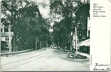 1900s Postcard Main Street North Bridge Danbury Conn CT Street View horse buggy