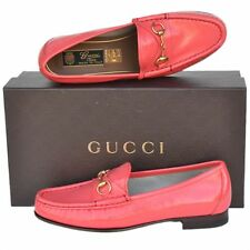 GUCCI New sz 37 - 7 Designer Horsebit Leather Womens Flats Loafers Shoes Pink