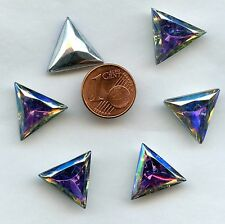 121*6 CABOCHONS ANCIENS CRYSTAL FOND CONIQUE TRIANGLE 15,5mm CRYSTAL AB