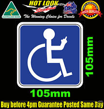 DISABLED DISABILITY FINGER WHEEL CHAIR FUNNY CAR VAN BUMPER STICKER DECAL SIGN