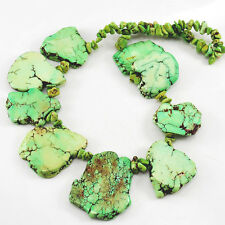 """28-40mm Lime Green Magnesite Turquoise Nugget Beads 15"""" (TU563)d"""