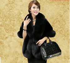 Elegant Womens Faux Mink Fur Shawl Shrug Gray Weddings Wrap Cape Evening Coat