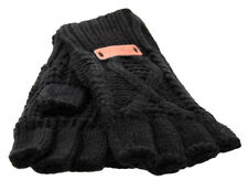 Aran Traditions Womens Ladies Winter Warm Fingerless Black Gloves