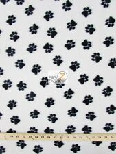 """PAW PRINT POLAR FLEECE FABRIC - WHITE/BLACK PAWS - 60"""" WIDE SOLD BY THE YARD 147"""