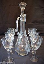 Vintage CRYSTAL Decanter 6 Wine Glass Stemware Set Etched Floral Leaf Pattern