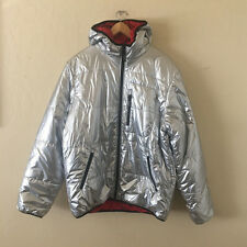 SUPREME Reversible Hooded Puffy Jacket Silver RARE XL astronaut box logo cdg NEW