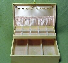 Vintage LADY BUXTON 2 Tier Ivory Cream JEWELRY Box Organizer PINK Velvet Lined