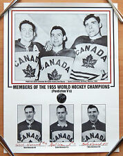 1955 TEAM CANADA HOCKEY CHAMPS 22X17 PRINT AUTOGRAPH BY DICK GRANT BILLY WARWICK