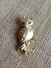 VINTAGE SIGNED TRIFARI HANDSOME OWL BROOCH W/RUBY CABOCHON EYES!