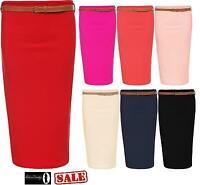 New Womens Ladies Belted Ribbed Stretch Bodycon Midi Pencil Skirt Size UK 8-14