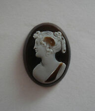 Antique Carved 3 Layer Banded Sardonyx Agate Loose Cameo Goddess Psyche 13/16""