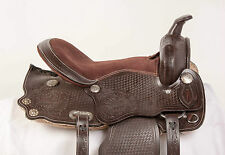 "USED 15"" COMFY DARK BROWN PLEASURE TRAIL BARREL WESTERN HORSE LEATHER SADDLE"