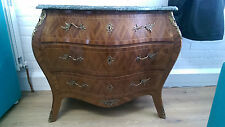Early 20th Century Bombe Commode marble top parquetry chest of drawers brass
