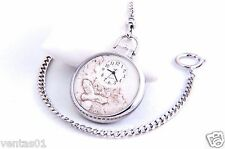 Silver Chain Pocket Quartz Watch with Wildlife Stone Design John Weitz FM022P