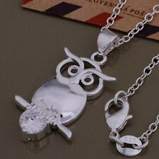 Ladies / Women 925 Sterling Silver Beautiful Cute Owl Crystal Necklace Pendant