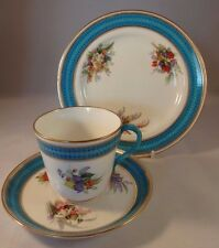 Royal Worcester Hand Painted Blue Floral Gilded Trio 1880 Teacup Saucer Plate VG