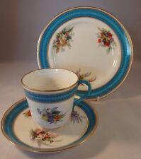 Royal Worcester dipinto a mano Blu Floreale Dorato Trio 1880 Tazza Piattino Piatto In buonissima condizione
