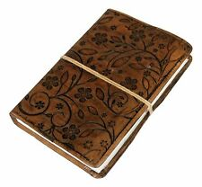 Large Flower Embossed Brown Leather Journal Diary (Handmade paper) W string tie