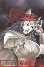 SCARLET WITCH Sketch Cover Original Art Sexy Comic Chris Foulkes
