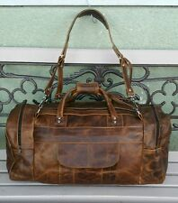 Authentic 100% leather handmade Crazy Horse Brown  travel/ gym men's duffle bag