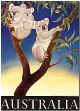 "Vintage Illustrated Travel Poster CANVAS PRINT ~ Australia koala Gumtree 8""X 12"""