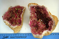 HUGE PAIR RED & GOLD QUARTZ SELENITE CRYSTAL GEODE FERTILITY 897g 120mm st206