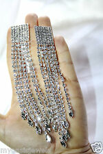 Crystal Large Shoulder Duster Clip On Earrings Rhinestone Pageant Drag 5.9 inch