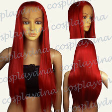 28 inch Hi_Temp Series Lace front Dark Red Straight Long Cosplay DNA Wigs TDDR